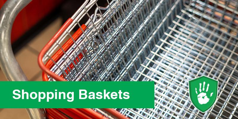 Safe touch coating for supermarket basket handles